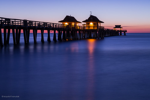 ocean blue sunset sky reflection pier gulf unitedstates florida horizon naples fl bluehour hanusiak