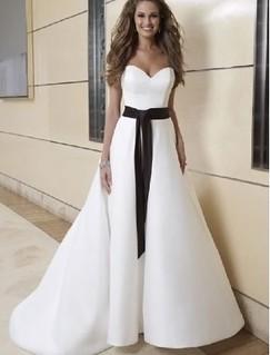 A-Line 2 in 1 Satin Sweetheart Neckline Wedding Dress with Convertible Skirt | by xubangwen