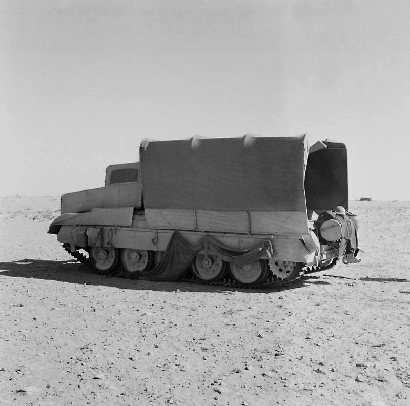 A British Crusader tank disguised as a truck