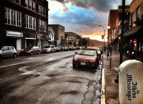 city sunset ohio urban streets cars rain landscape cityscape athens hdr ohiouniversity iphone athensoh iphone4s