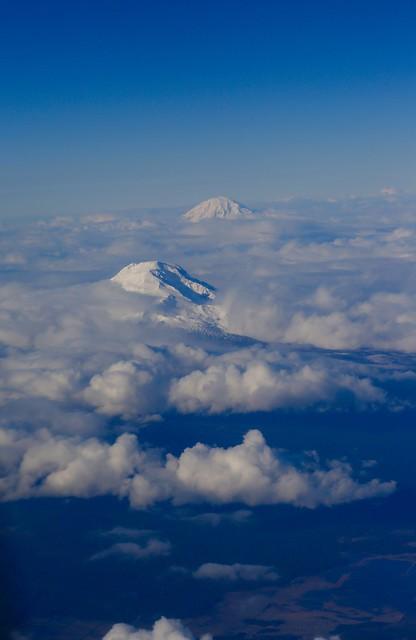 Mount St. Helens & Mt. Rainier.  Washington.