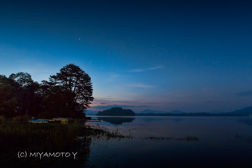 sky cloud lake reflection tree japan sunrise star pond fukushima 2013