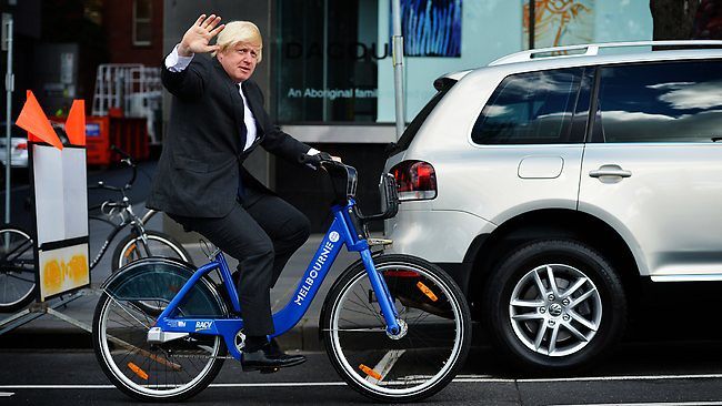 Image result for boris johnson cycling