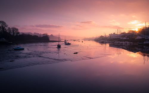 penryn cornwall river sunrise dawn morning pink boats early estuary fineart landscape davidhaughton