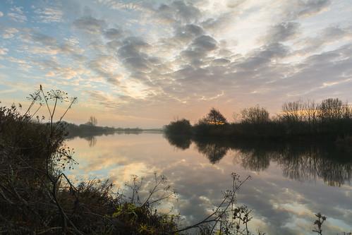 dawn sunrise morning mist fog water reflection jubileeriver floodrelief clouds dorney southbucksdistrict buckinghamshire bucks england uk unitedkingdom nikon d7100 nikond7100
