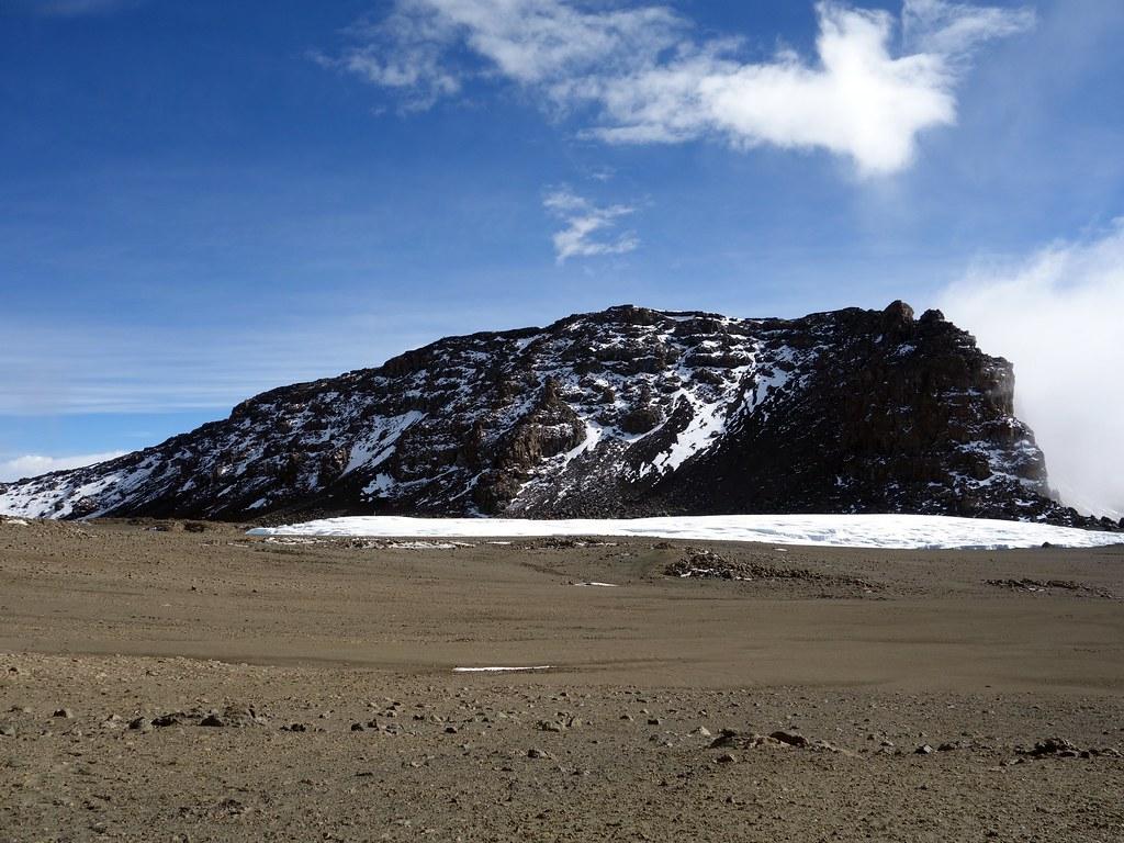 Uhuru Peak rises above the Furtwangler Glacier