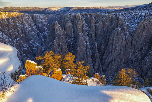 blackcanyon light snow sunrise trees winter canyon cliffs nationalpark nps