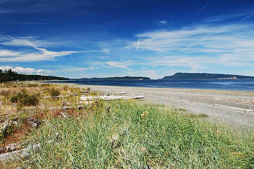 Beach at Nile Creek, Bowser, Vancouver Island, British Columbia, Canada.