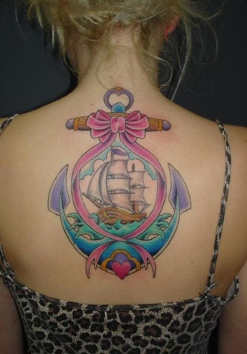 ee6e01ece ... large back bright many colored anchor tattoo ideas art for girls with  pink bow and beautiful