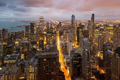 chicago john hancock observatory night lights city cityscape