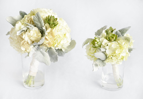 Wedding Bouquet Set with White & Light Pink Hydrangea & Succulents   by FestivitiesMN