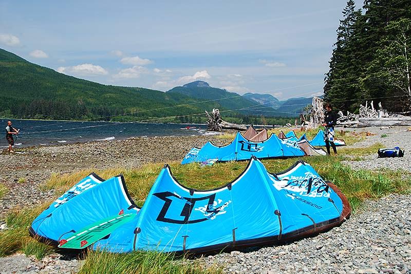 Kite Surfers at Nitinat Lake, Vancouver Island, British Columbia, Canada