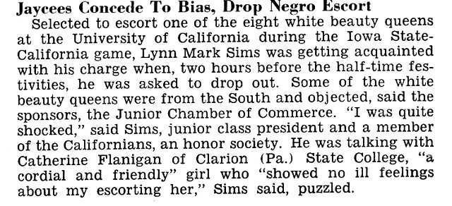 California Jaycees Give In To Racism and Drop Black Escort for the California - Iowa Football Game - Jet Magazine, October 10, 1963