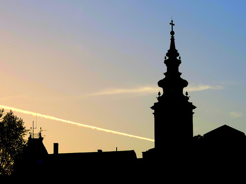 pink blue sky black tower church silhouette sunrise cathedral serbia belgrade