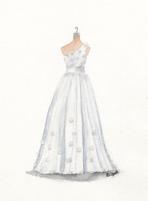 Watercolor Wedding Dress Portrait Watercolor And Pencil Po Flickr