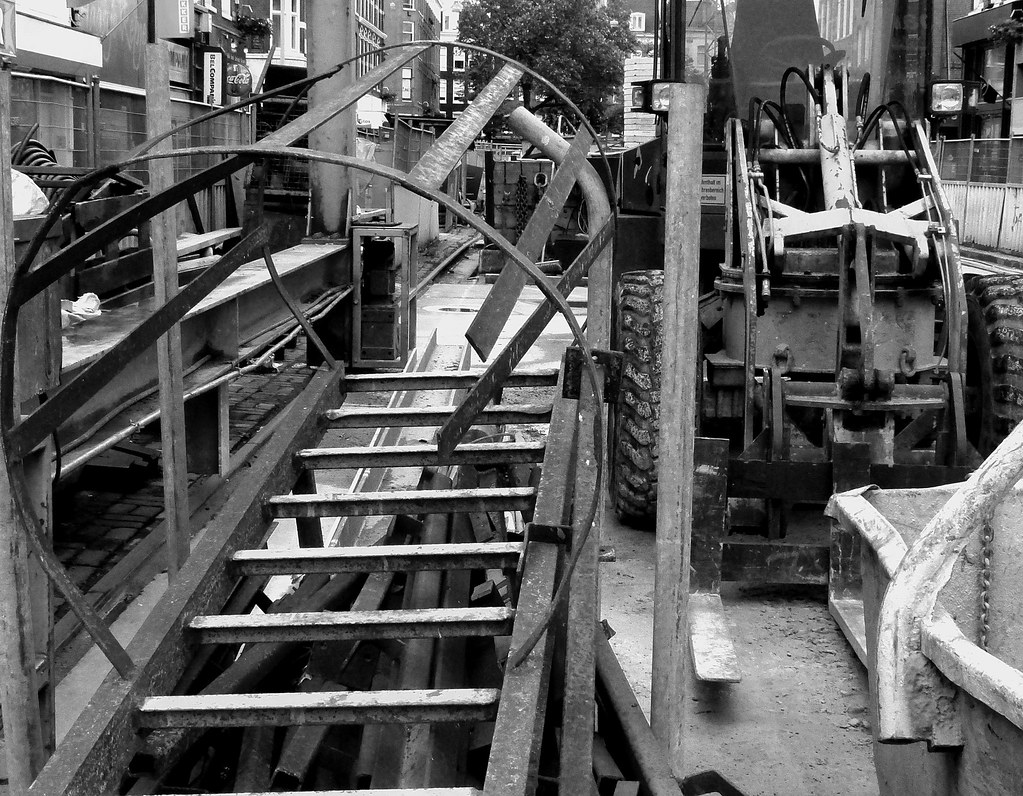 2013.06 - 'Black and White urban photography', from the city - Construction still-life of construction equipment and building material at the metro construction site Vijzelgracht in Amsterdam; photography in the Netherlands, Fons Heijnsbroek