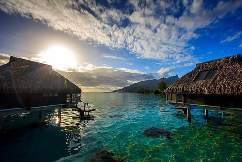 sunrise french polynesia hilton hdr bungalow moorea overwater