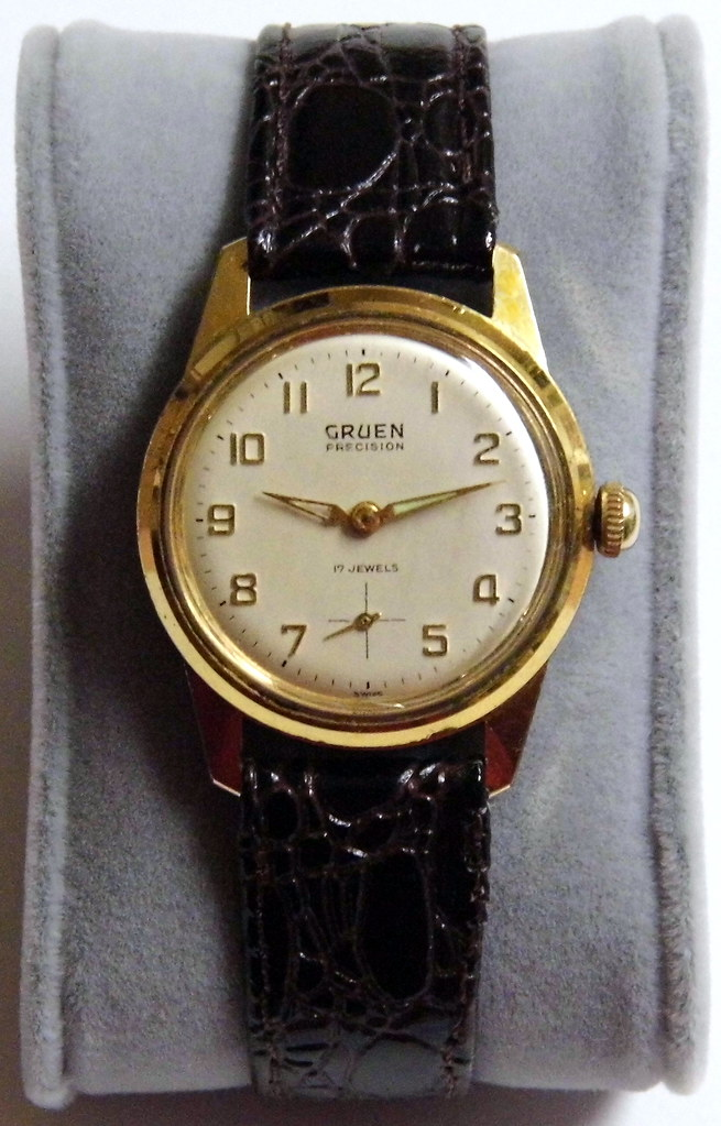 Gold Hands, Leather Strap, Baton Hands, Vintage Watch, Gruen Watches