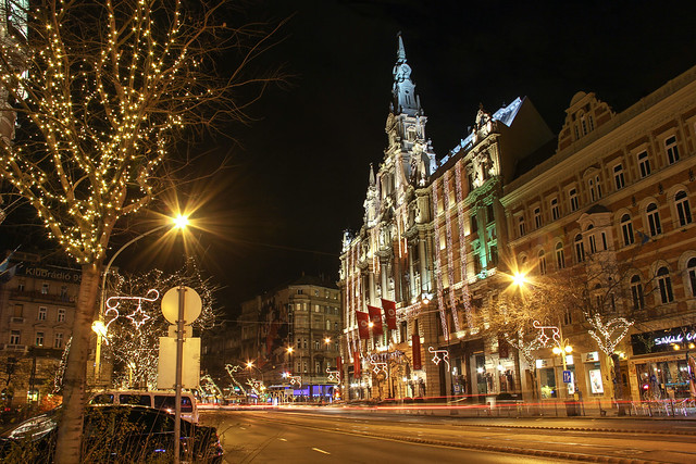 Budapest - the New York palace with the Elisabeth boulevard at night around christmas time 6