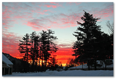 sky cold silhouette clouds sunrise newengland frosty nh northconway redskyinthemorning