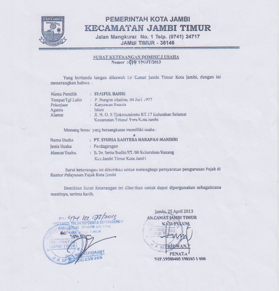 Surat Legalitas Domisili Usaha Sbhm Surat Keterangan Domis