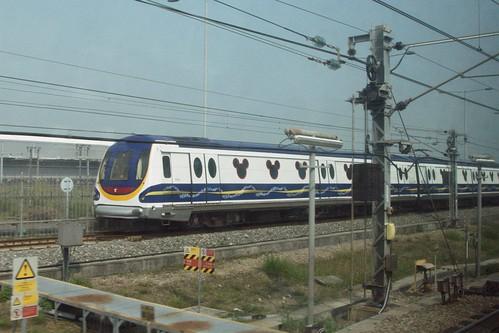 MTR Disneyland Resort line train on the test track at Siu Wan Ho depot
