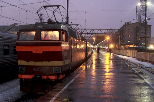 ЧС2Т class electric locomotive ЧС2Т 954 ready to lead our train out of Saint Petersburg