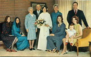 Margaret Sinclair and her family on her wedding day 1971