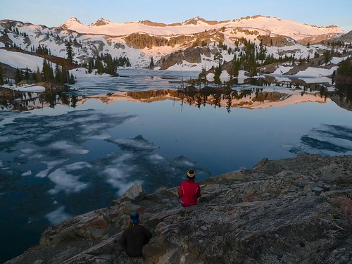 Allie and Miranda enjoy the alpenglow on the Crystal Range at Heather Lake | by snackronym