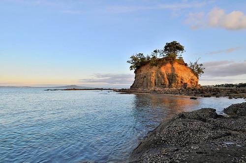 ocean sunset sea newzealand water nikon ngc northshore hdr rangitoto
