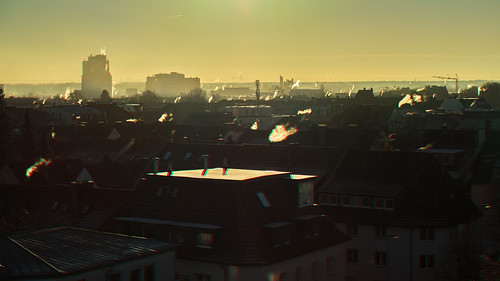 chimney smoke morning winter roof cityscape dawn sunrise 3d stereography