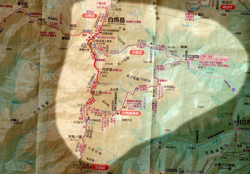 白馬岳の地図
