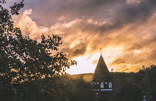 morning sky church clouds pentax surise przywidz