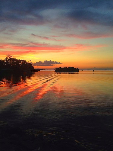 trees light sunset red sky orange sun motion black love water smile yellow clouds dark island happy boat dock waves shadows wind ripple wave down distance chill reservior jacksonms rossbarnettreservoir