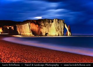 France - Normandy - Haute-Normandie - Étretat - Stunning white cliffs at Dusk - Twilight - Blue Hour | by © Lucie Debelkova / www.luciedebelkova.com