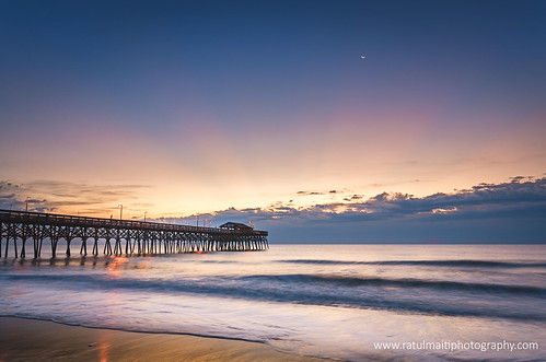 pier myrtle beach sunrise ocean clouds moon sky colors south carolina water landscape seaside shore coast