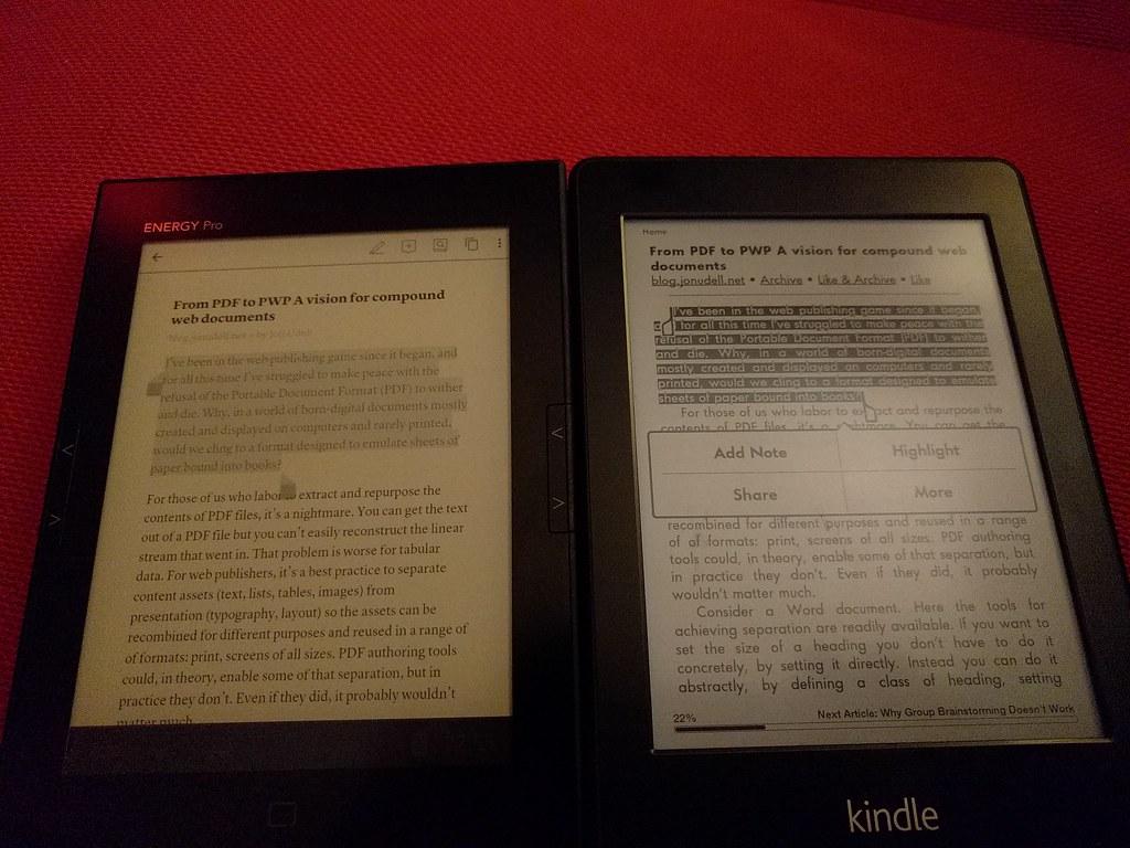 Energy Pro HD 6 vs Amazon kindle paperwhite 2 | Ian