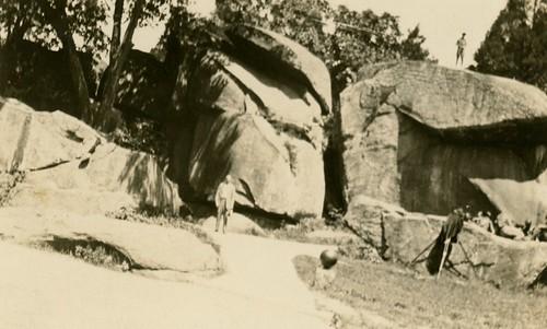 Man Posing at Devil's Den, Gettysburg, Pa.
