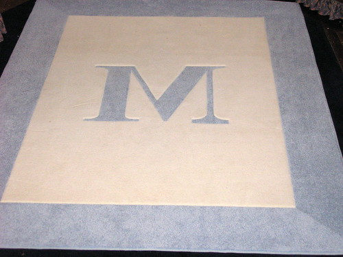 Customweave White with Azure Blue Border and Initial