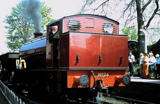90-104  K&ESR No. 24 'William H Austen' rolls through Tenterden Town with a goods train