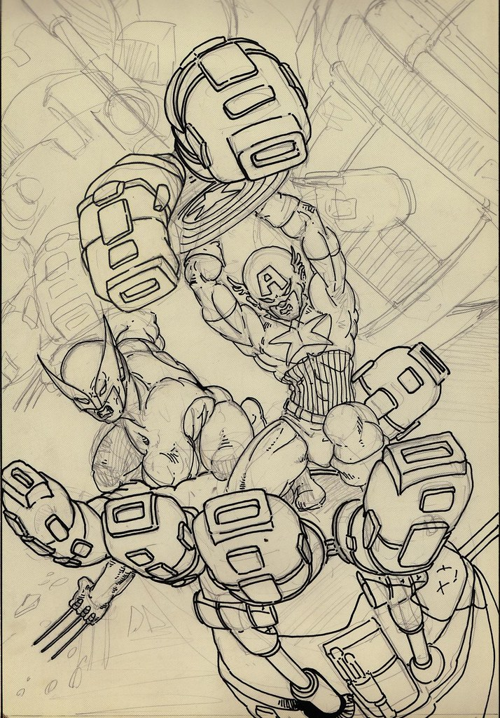 """Cap and Logan vs. Sentinel"" ..unfinished pin-up by KEVIN EASTMAN (( 1985 )) by tOkKa"