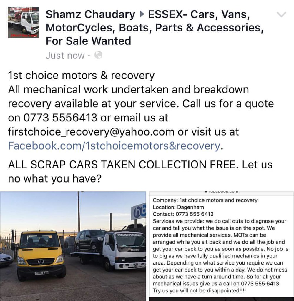1st Choice Motors >> 1st Choice Motors And Recovery Call Us To Book Your Car In