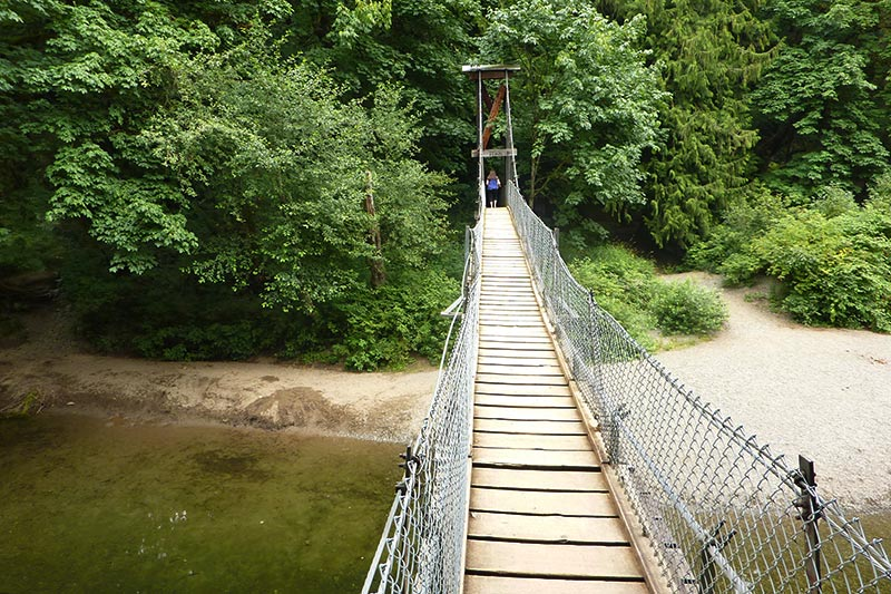 Suspension Bridge across the Koksilah River in Bright Angel Park, Cowichan Station, Cowichan Valley, Vancouver Island, British Columbia, Canada