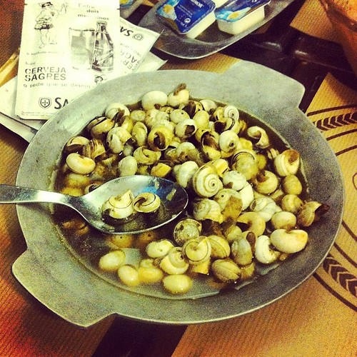 Caracóis, Portuguese snails: tiny, salty, garlicky and possibly thymey. A drinking snack available all over Lisbon. #portugal | by RealThai