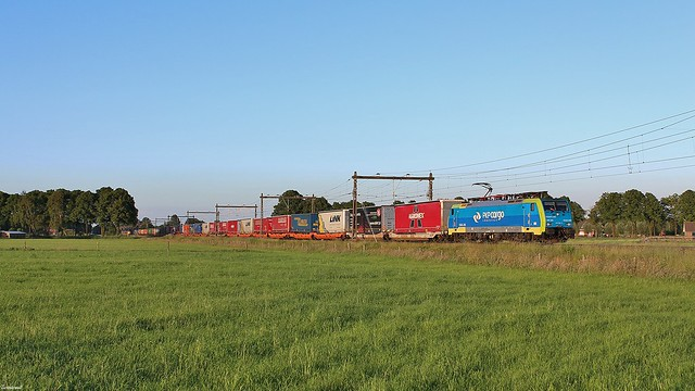 PKP 189 205 met een trein beladen met opleggers en containers.