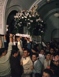 Epitaphios being carried during a Good Friday service at St. Nicholas Greek Orthodox Cathedral in Tarpon Springs, Florida