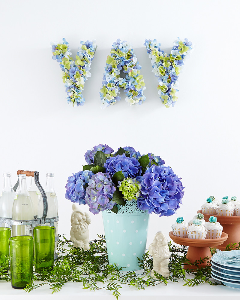 blue hydrangea birthday party cupcakes bottled drinks and glasses