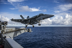 Capt. William Koyama, commander of Carrier Air Wing (CVW) 5, prepares to achieve his 4000th flight hour in an F/A-18E Super Hornet from Strike Fighter Squadron (VFA) 195 as it launches from the flight deck of the aircraft carrier USS George Washington (CVN 73), June 12. (U.S. Navy/MC3 Bryan Mai)