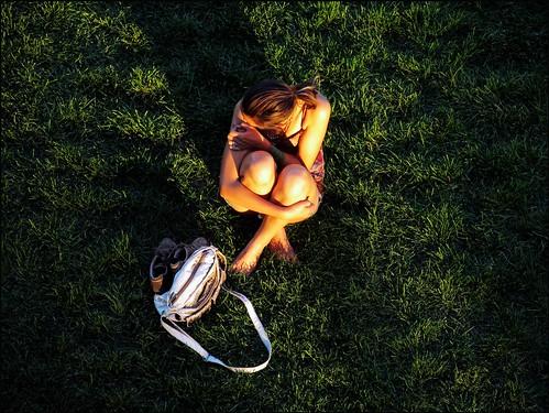 woman montana candid fromabove missoula seated sunsetlight longlight onthegrass