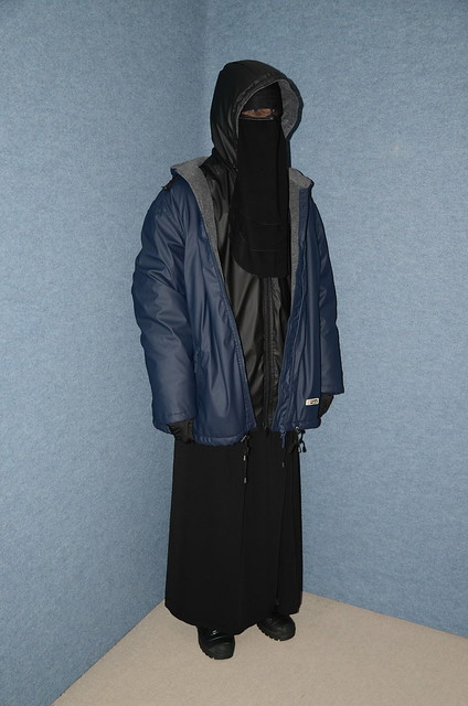 Niqab and rain anorak